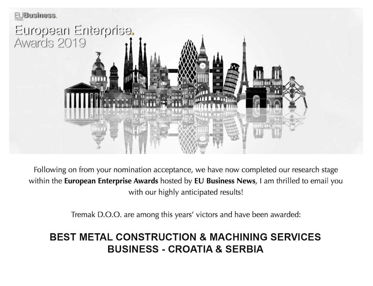 Tremak dobitnik nagrade European Enterprise Awards